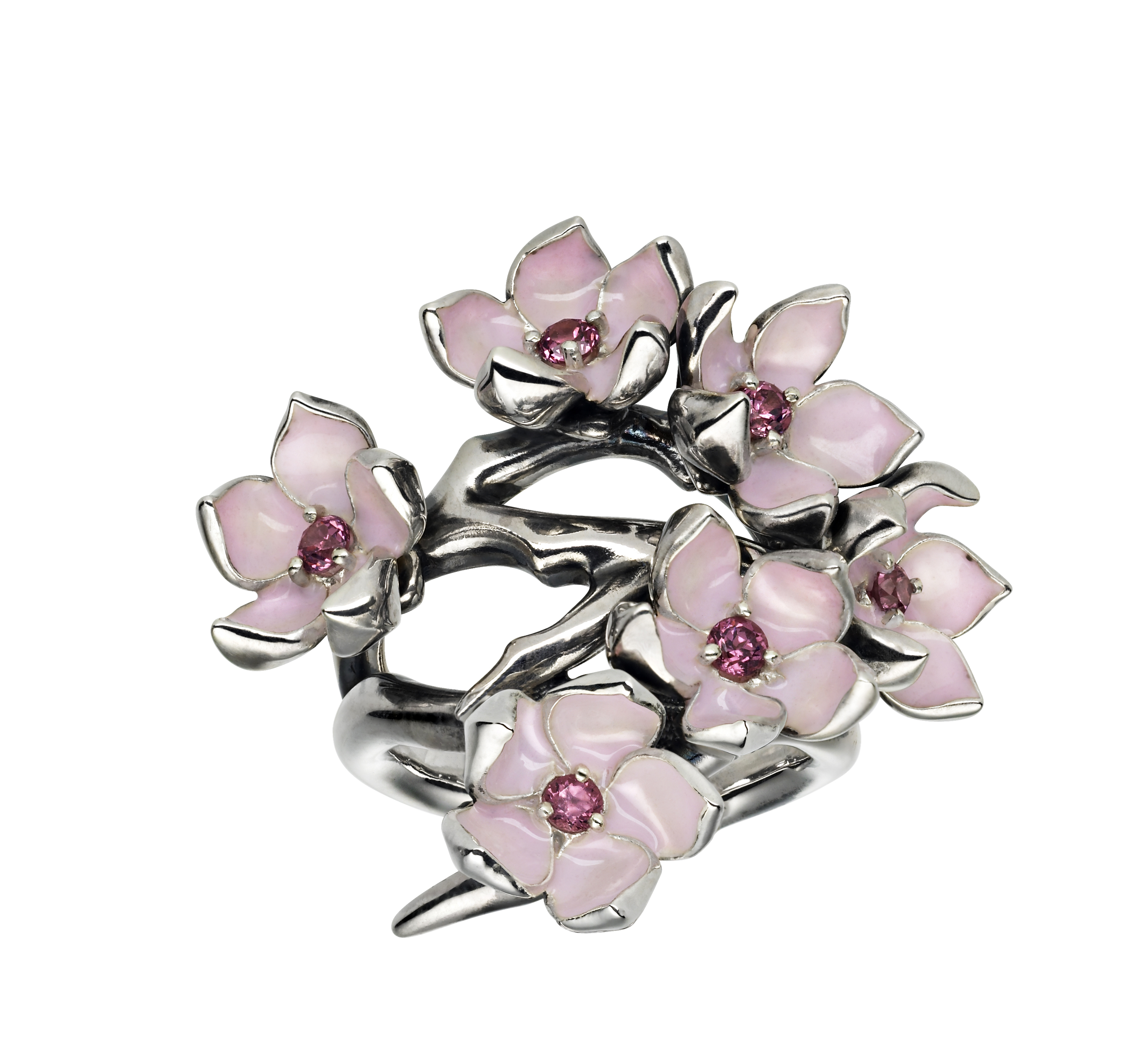 A taste of the range... the beautiful silver & pink enamel cherry bud ring with pink pearls