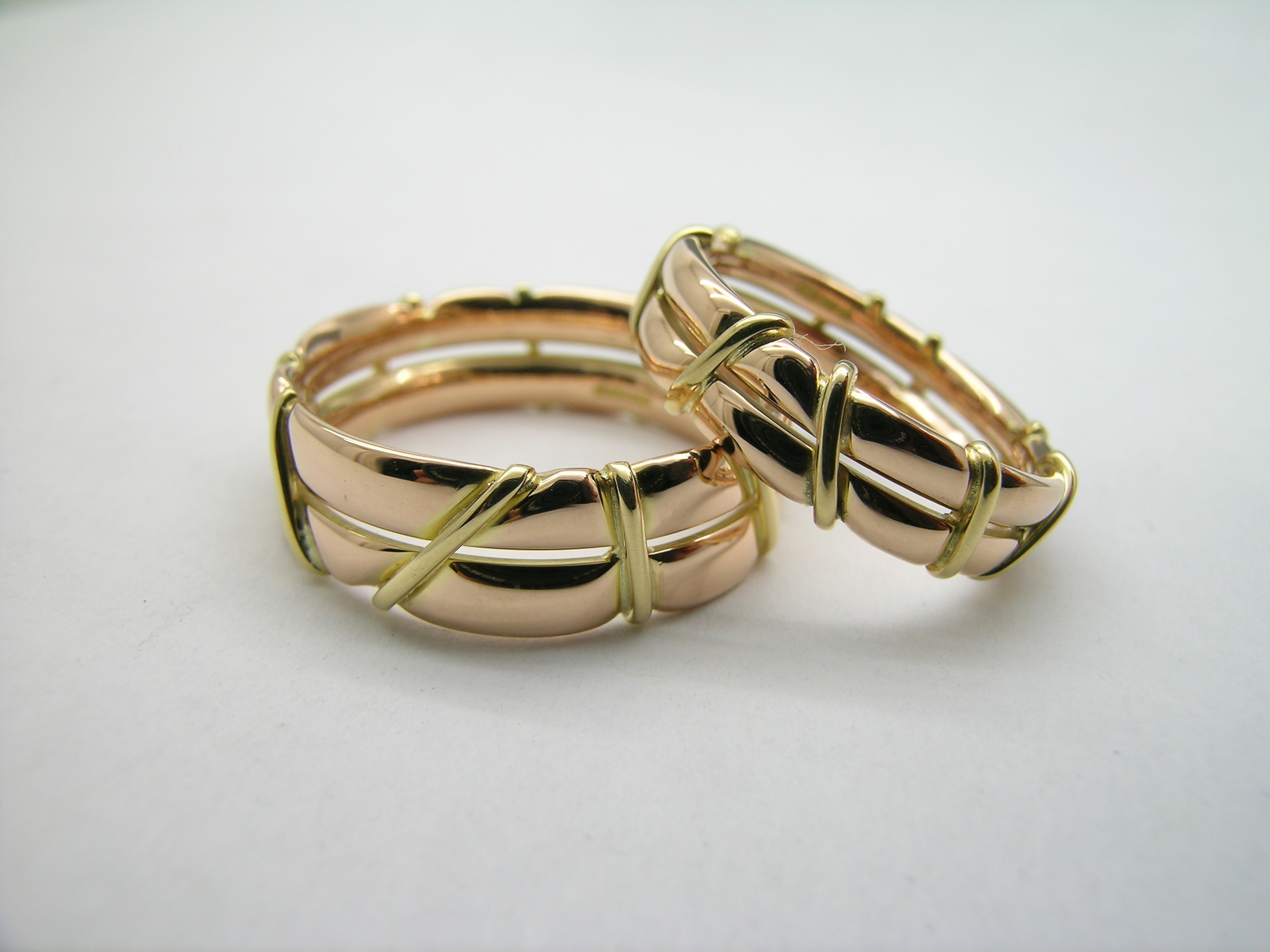Bespoke Wedding Bands 18ct Rose Gold Double Band Wred With Yellow Wire