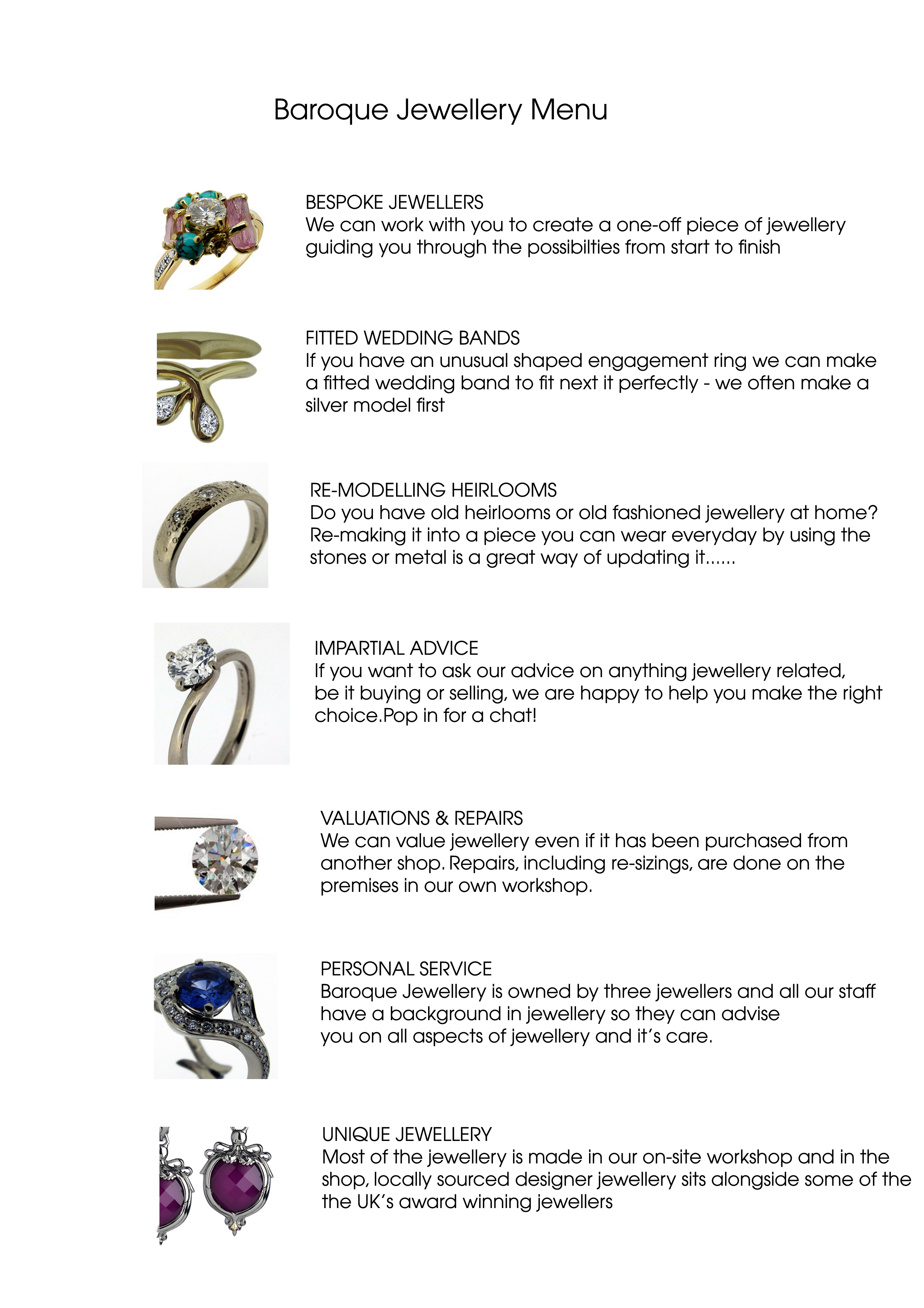 Baroque Bespoke Jewellery's Menu of services that we offer