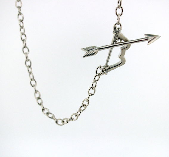 bow and arrow clasp necklace