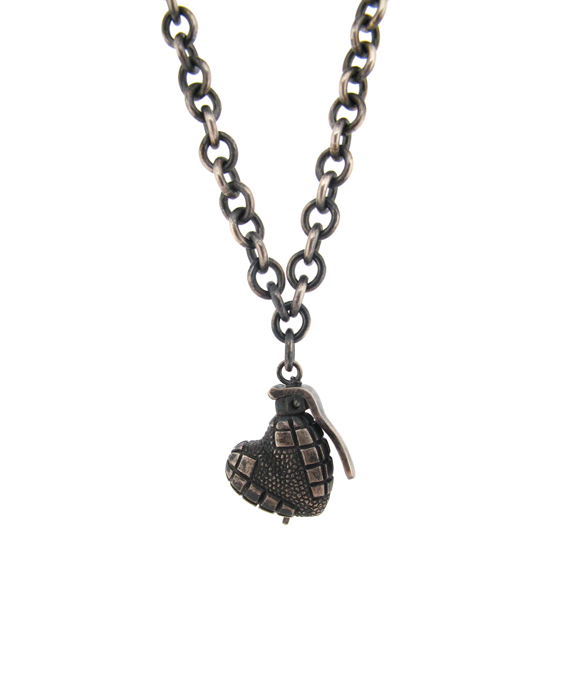 Oxidised silver heart hand grenade pendant