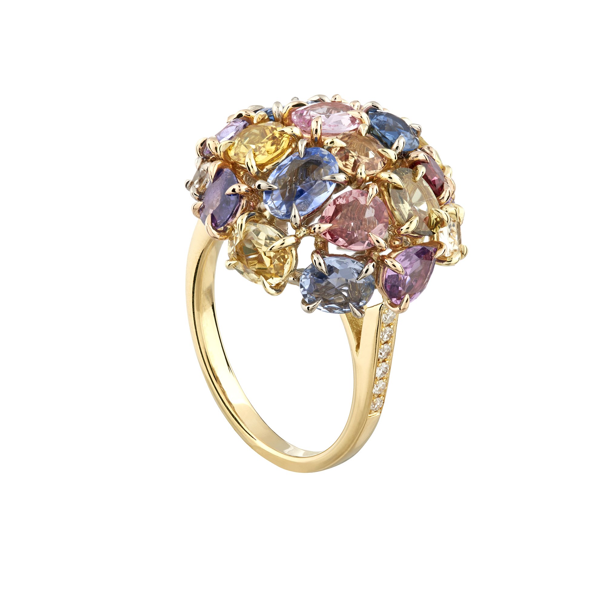 18ct yellow gold Limited Edition Rainbow Sapphire cluster ring