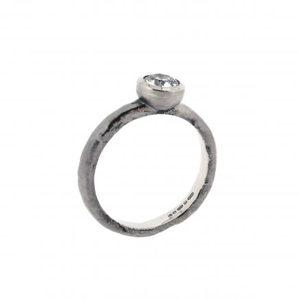 18ct White Gold and 0.50ct White Diamond Molten Engagement Ring