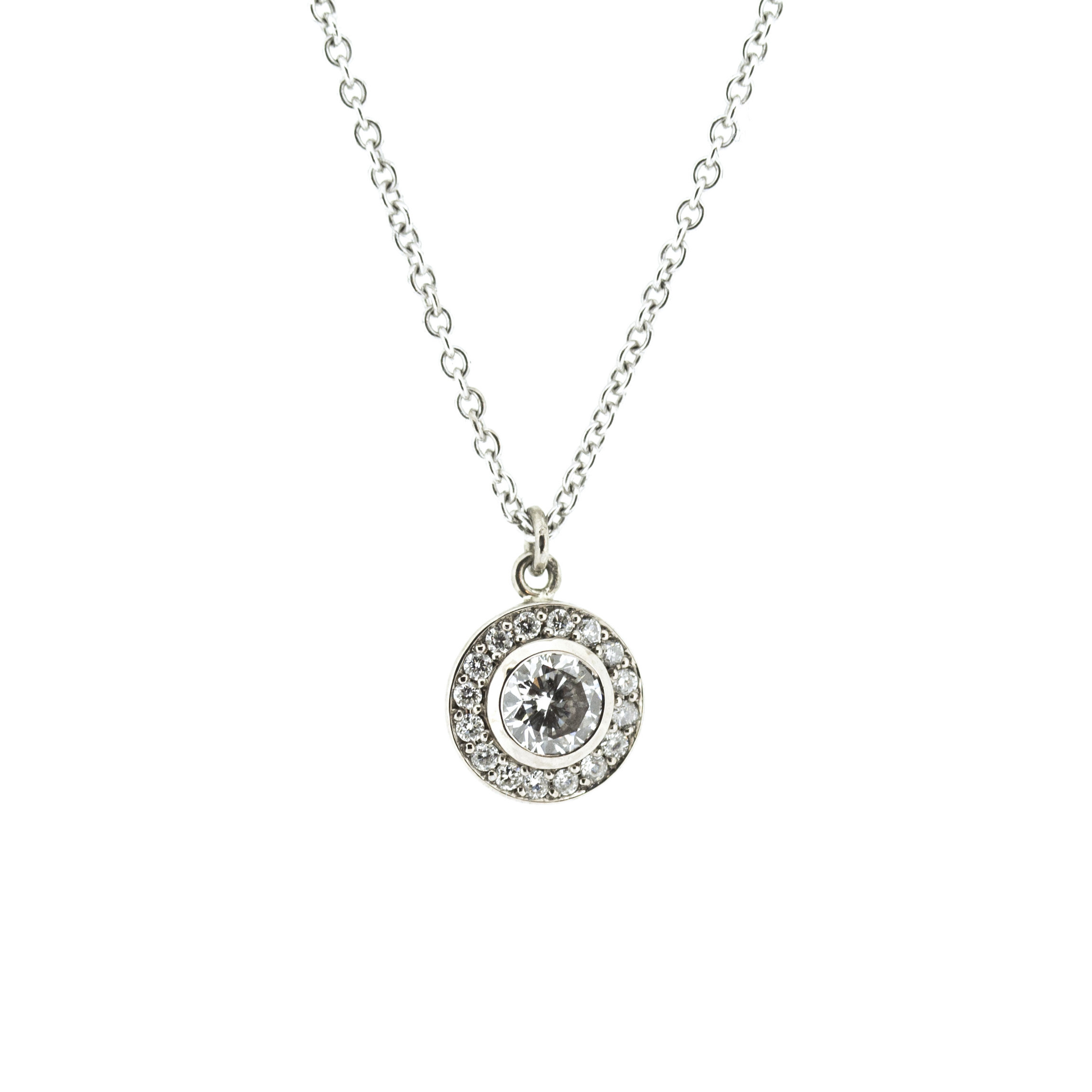 18ct white gold and white diamond molten filigree halo pendant back aloadofball Choice Image