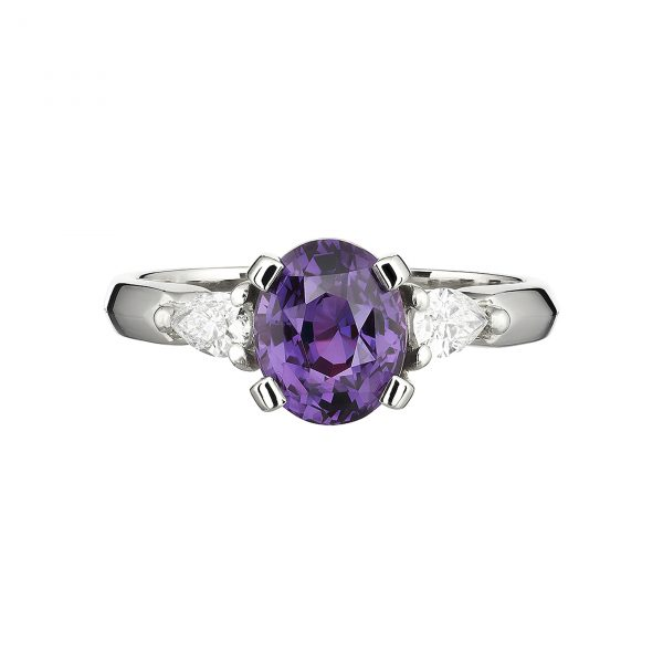 18ct White Gold Coco Purple Sapphire and Diamond Ring