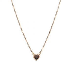 18ct rose gold and chocolate brown heart-shaped diamond pendant