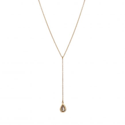 18ct rose gold and pear-shaped champagne diamond drop pendant