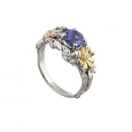 18ct white and yellow gold and Tanzanite Daisy cluster ring