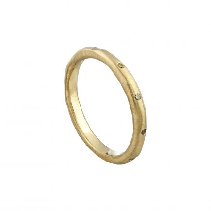 18ct yellow gold fine Molten ring flush-set with yellow diamonds