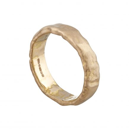 18ct rose gold heavy molten wedding ring