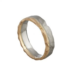 18ct white and rose gold bi-colour molten wedding ring