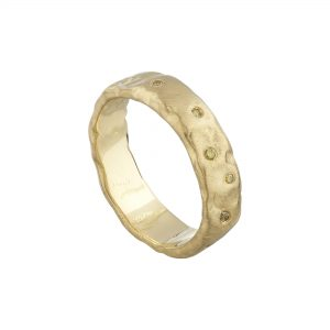 18ct yellow gold wide Molten ring with scattered yellow diamonds