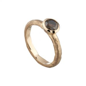 18ct rose gold and chocolate diamond Molten engagement ring