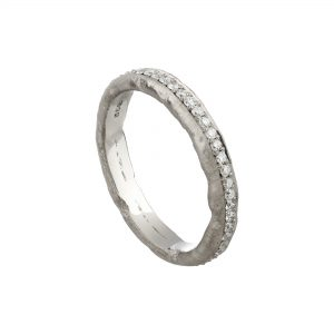 18ct white gold and diamond Molten full eternity ring