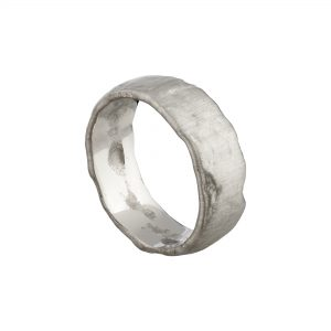 18ct white gold extra wide Molten wedding ring