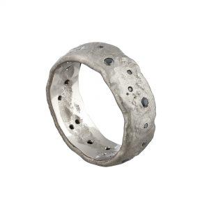 18ct white gold extra wide Molten wedding ring flush-set with black diamonds