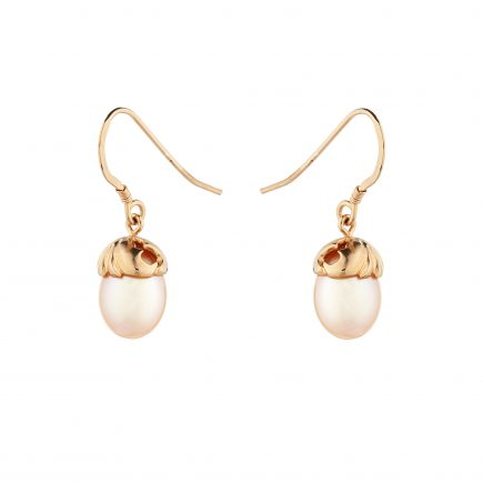 Silver and rose gold plated Woodland pearl earrings