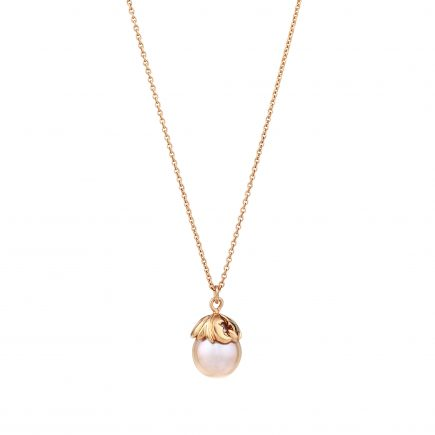 Silver and rose gold plated Woodland pearl pendant