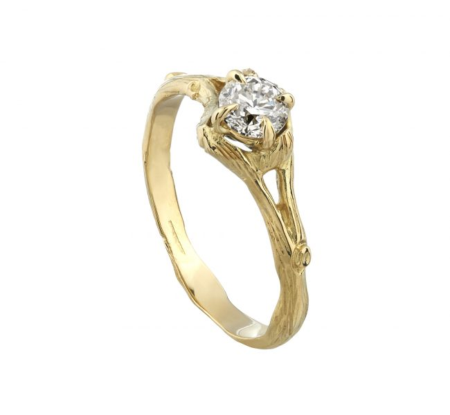 18ct yellow gold and brilliant-cut white diamond Woodland engagement ring
