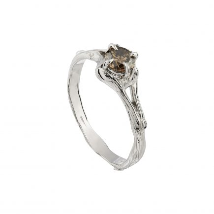 18ct white gold and brilliant-cut chocolate diamond Woodland engagement ring