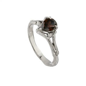 18ct white gold and pear-shaped chocolate diamond Woodland ring