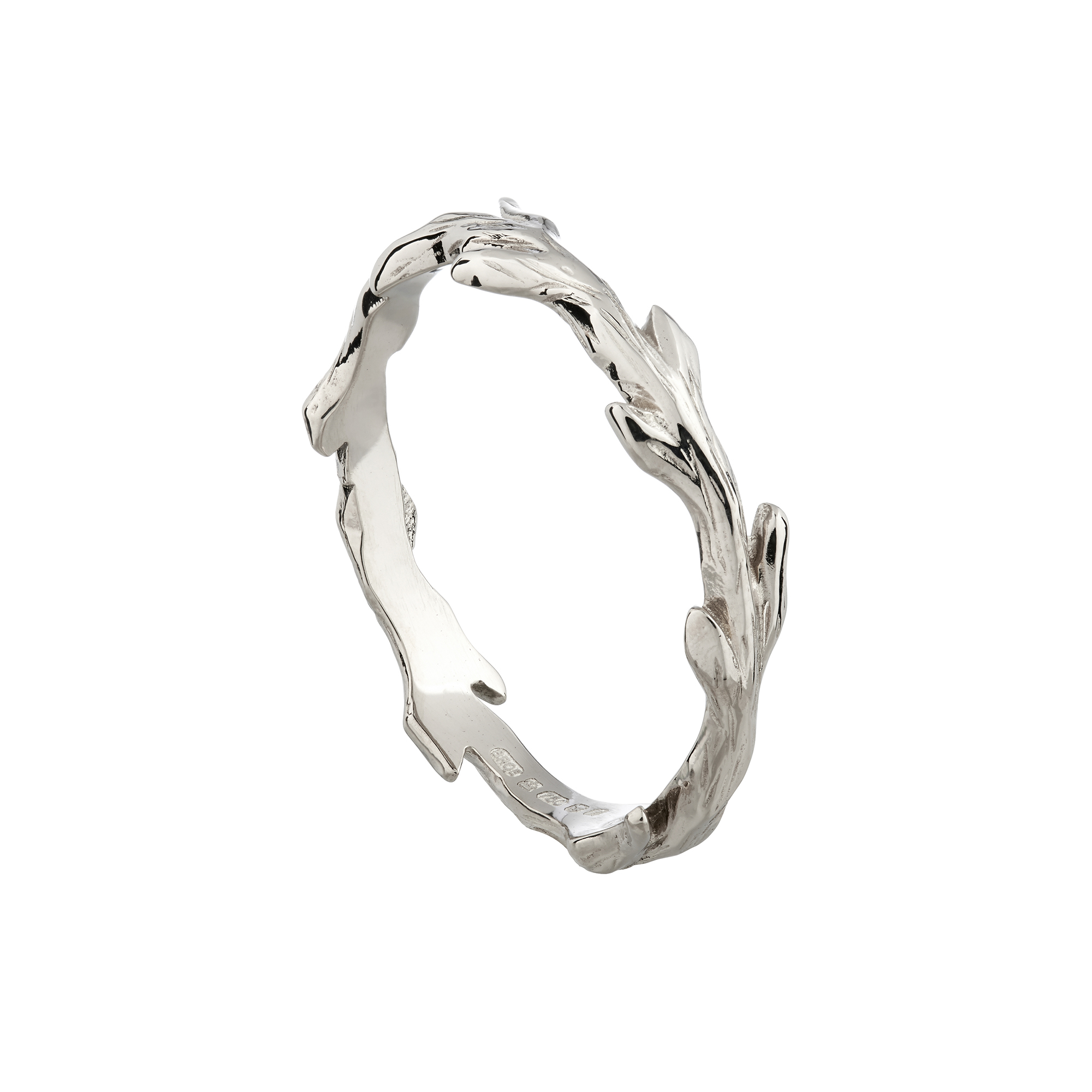 18ct white gold woodland wedding ring
