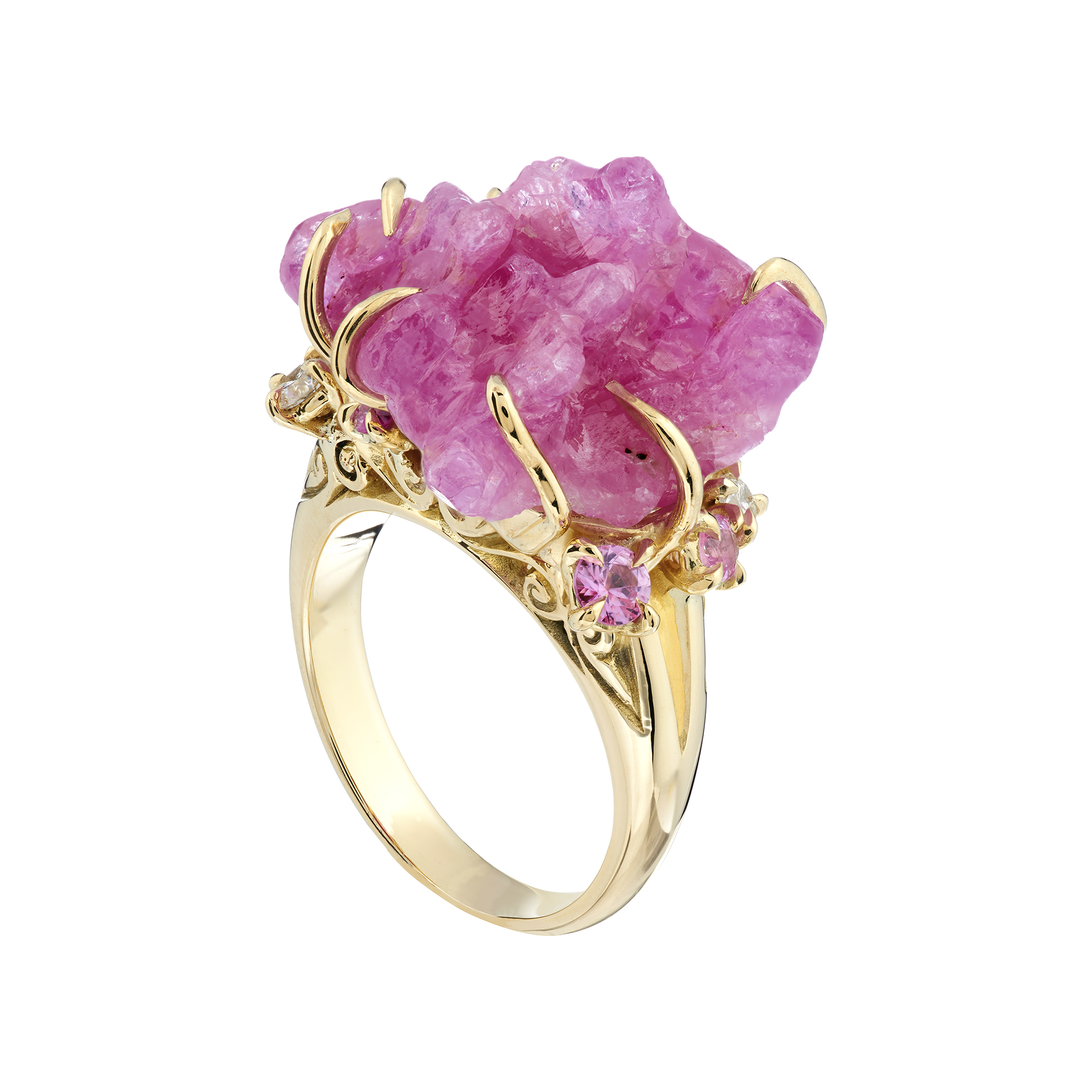 Limited Edition 18ct yellow, Rough Ruby, pink sapphire and diamond ...