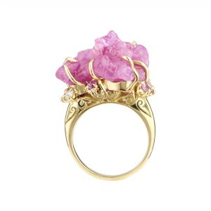 Limited Edition 18ct yellow, Rough Ruby, pink sapphire and diamond ring