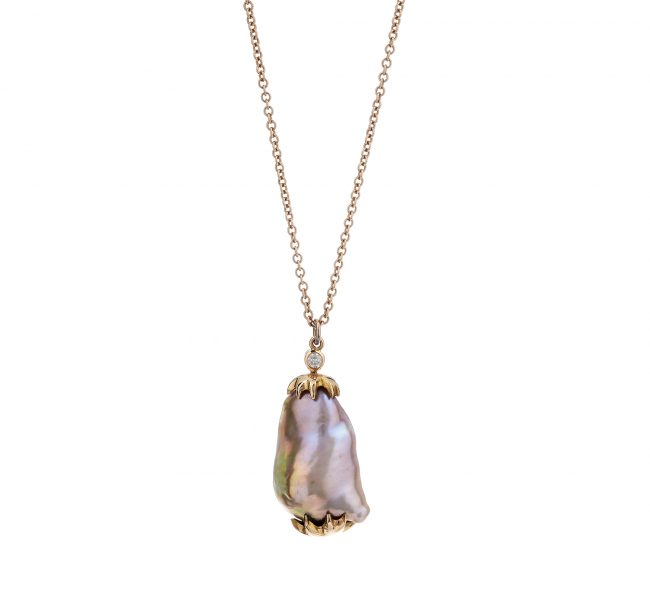 18ct rose gold diamond and Baroque pearl pendant