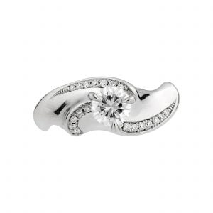 18ct white gold and 50pt white diamond Limited Edition twist engagement ring