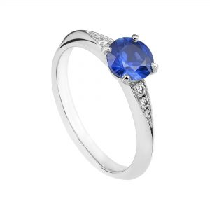 Platinum and blue sapphire Coco engagement ring