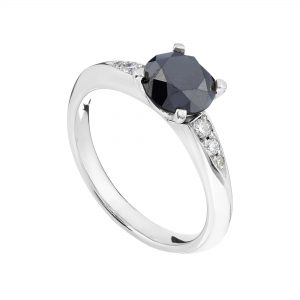 18ct white gold and black diamond Coco engagement ring
