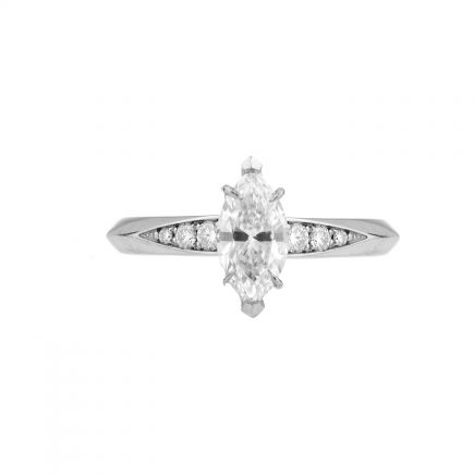 18ct white gold and marquise diamond Coco engagement ring