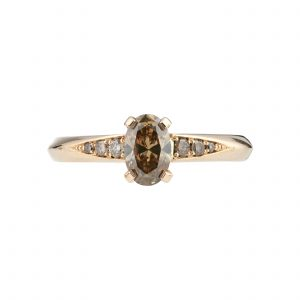 18ct rose gold and oval champagne diamond Coco engagement ring