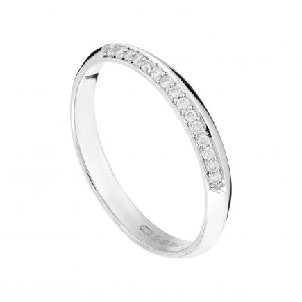 18ct white gold fine Coco wedding band one third-set with white diamonds