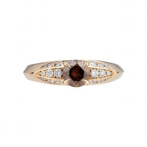 18ct rose gold, brown and white diamond Limited Edition fluted ring