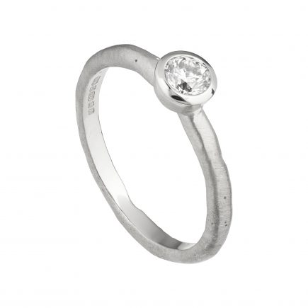 18ct white gold and 30pt white diamond Molten engagement ring