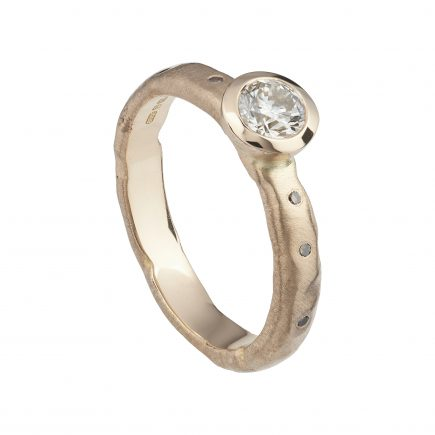 18ct rose gold and champagne 40pt diamond molten ring with scattered diamond shoulders