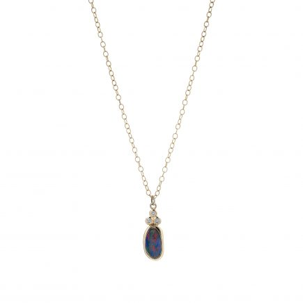 18ct yellow gold, black Opal and diamond pendant