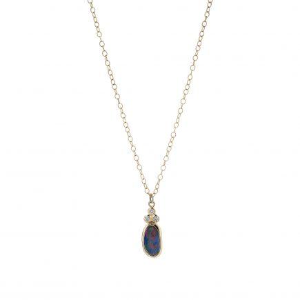 18ct yellow gold, black Opal and diamond pendant