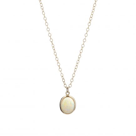 18ct yellow gold and white opal pendant