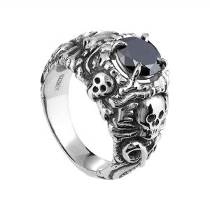 18ct white gold and black diamond Pirate ring