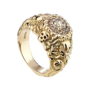 18ct rose gold and champagne diamond halo Pirate ring