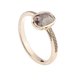 18ct rose gold, cayenne pepper rose-cut and champagne diamond engagement ring