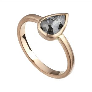 18ct rose gold pear-shaped salt and pepper Rose-cut diamond engagement ring