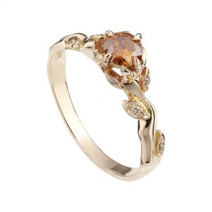 18ct rose gold and orange diamond Rose and Thorn engagement ring