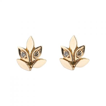 18ct rose gold and champagne diamond Rose and Thorn studs