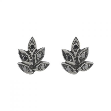 18ct white gold black diamond Rose and thorn studs with black rhodium plating