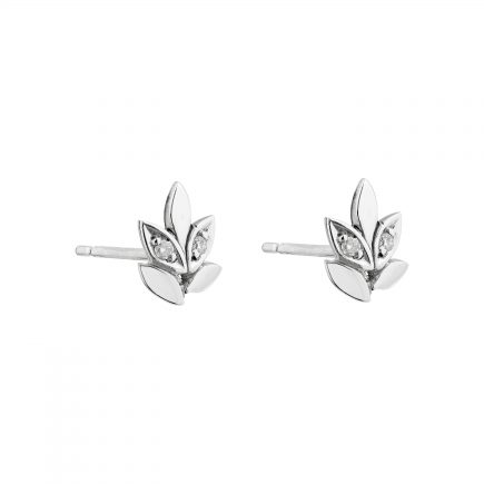 Silver and diamond rose and thorn studs