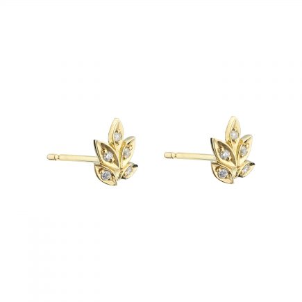 18ct yellow gold and white diamond rose and thorn studs